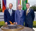 At the eternal flame in IOC HQ Lausanne following the presentation of the Olympic Order